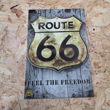 Placa Decorativa em PVC - Route 66 Fell The Freedom
