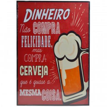 Placa MDF decorativa - Dinheiro não compra felicidade, mas compra cerveja que é quase a mesma coisa