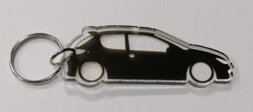 Porta Chaves de Acrílico com silhueta de Peugeot 206