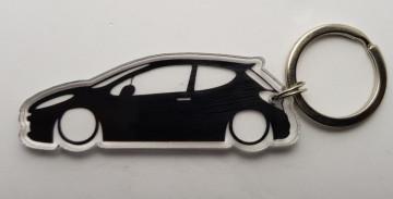 Porta Chaves de Acrílico com silhueta de Peugeot 207