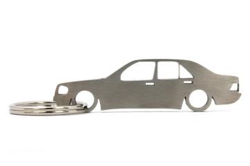 Porta Chaves em inox com silhueta com Mercedes 190 W201