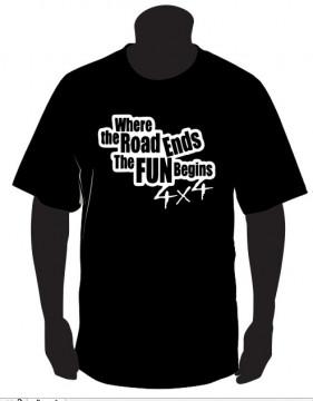 T-shirt  - Where the roads ends the fun begins - 4x4