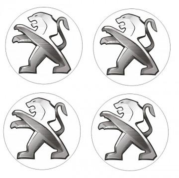 4 Autocolantes Para Centros de Jantes com Peugeot