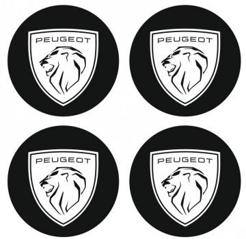 4 Autocolantes Para Centros de Jantes para Peugeot