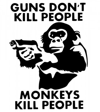 Autocolante  - Guns dont kill peopple monkey kill people