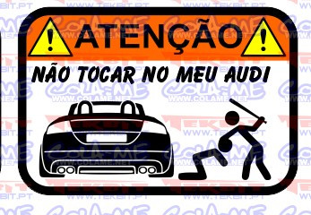 Autocolante Impresso - Não tocar no meu Audi TT Cabrio