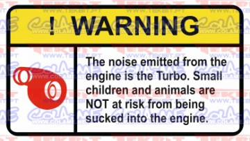 Autocolante Impresso - Warning - Turbo