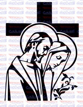 Autocolante - Jesus Cristo e Nossa Senhora de Fatima