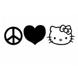 Autocolante - Paz Amor e Hello Kitty