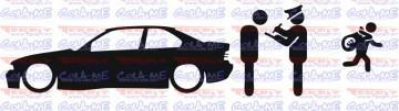 Autocolante - Policia e ladrões - BMW E36 Coupe