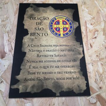Placa Decorativa em PVC - Oração De São Bento