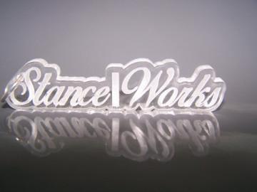 """Porta Chavesde Acrílico com gravação """"Stance/Works"""""""
