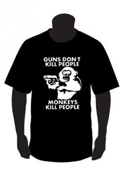 T-shirt para Guns dont kill peopple monkey kill people 2