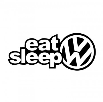 Autocolante com Eat Sleep VW