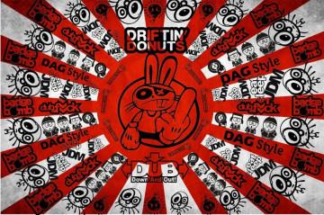 Autocolante Impresso - bandeira japao dub jdm coelho