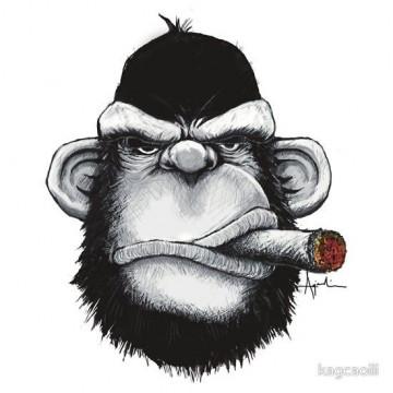 Autocolante Impresso - Macaco a fumar