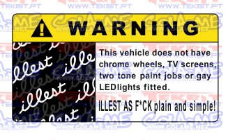 Autocolante Impresso - Warning illest
