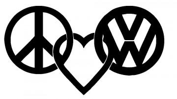 Autocolante - Peace Love VW