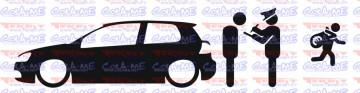 Autocolante - Policia e ladrões - VW golf V