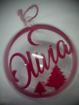 Bola para árvore de Natal - 8cm - Com nome