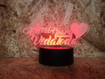 Moldura / Candeeiro com luz de presença - Amor para a vida toda