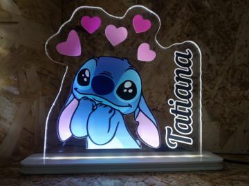 Moldura / Candeeiro com luz de presença - Stitch + Nome