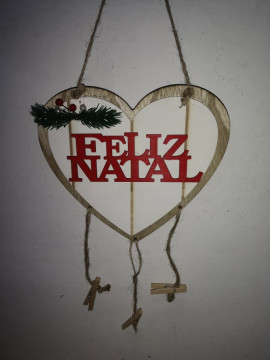 Ornamento Coração - Feliz Natal