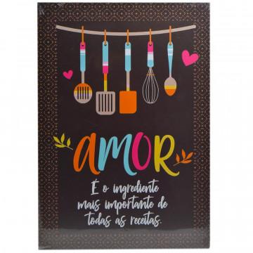 Placa MDF decorativa - Amor é o ingrediente mais importante de todas as receitas