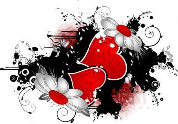 Autocolante para Portátil - Corações e Flores