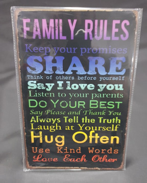 Chapa decorativa com Family Rules