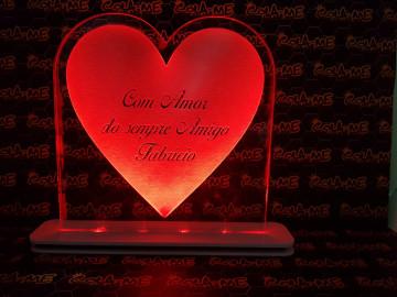 Moldura / Candeeiro com luz de presença - Coração com frase personalizada
