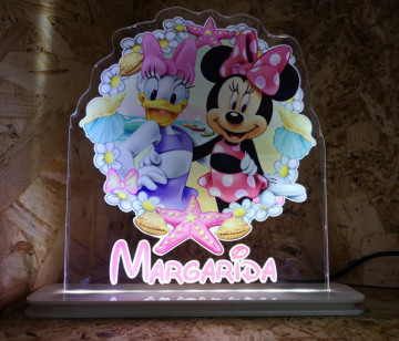 Moldura / Candeeiro com luz de presença -Minnie e Margarida + Nome