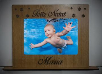 Moldura em MDF - Feliz Natal - Com foto impressa na madeira