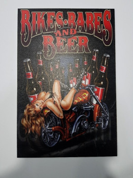 Placa Decorativa em PVC - Bike, Babes and Beer