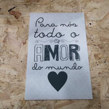 Placa Decorativa em PVC - Para nós todo o amor do mundo