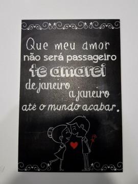 Placa Decorativa em PVC - Que meu amor não será passageiro