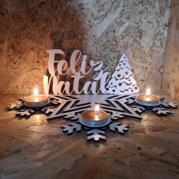 Porta velas em MDF - Feliz Natal