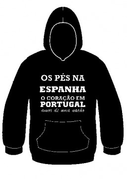 Sweatshirt com capuz - Os pés na Espanha o coração em Portugal, amor de uma nação