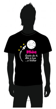 T-shirt com Mãe gosto de ti, Até a lua e Voltar