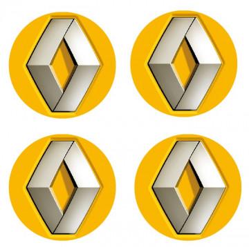 4 Autocolantes Para Centros de Jantes com Renault