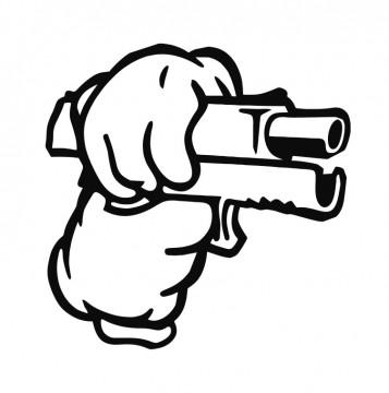 Autocolante com Arma Luvas