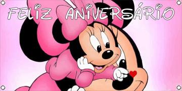 Lona de Aniversário - Feliz Aniversário - Minnie