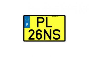 Placa de Matrícula Amarela Quadrada Acrílica - Quadriciclos e ciclomotores - Modelo 2020
