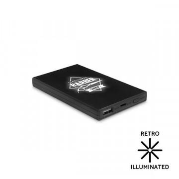 Powerbank 4000mAh com logótipo gravado a laser Retro iluminado