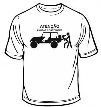 T-shirt  com Atenção, pausas constantes