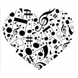 Autocolante - Coração de Musica