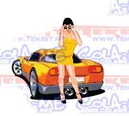 Autocolante Impresso - Girl + car
