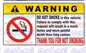 Autocolante Impresso - Warning Não Fumar