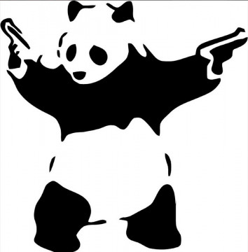 Autocolante - Panda pistolas