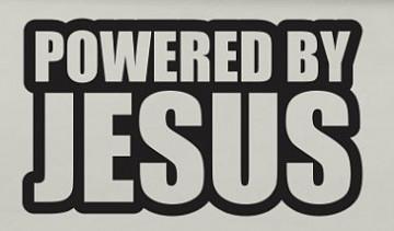 Autocolante - Powered by Jesus